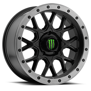 649 Satin Black with Anthracite Grey Beadlock-Style Lip and Green Monster M-Claw Cap 5 lug