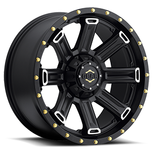 738 Switchback Satin Black with Mirror Machined Spoke Accents and Gold-Tone Cadmium Plated Bolts 8 lug