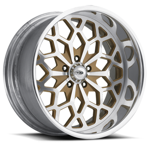 Snowflake Gold and Machined with Chrome Lip 5 lug