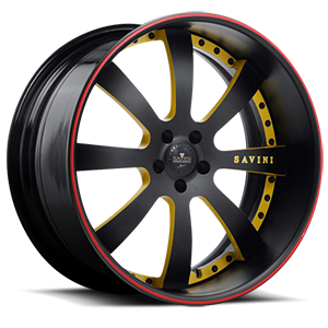 SV28-S Black and Yellow with Red Pinstripe 5 lug