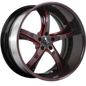SV29-S Black and Red with Carbon Lip 5 lug