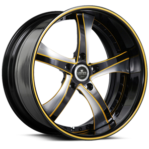 SV29-S Black and Brushed with Yellow 5 lug