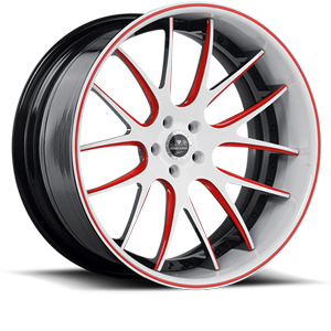 SV39-C White, Red, and Black with White and Red Lip 5 lug