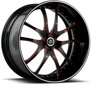SV40-S Black and Red with Silver Pinstripe 5 lug