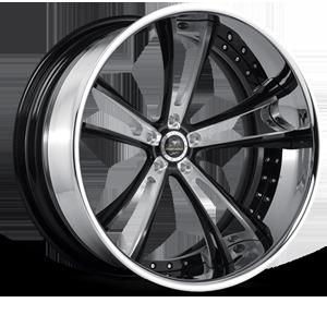 SV43-C Black with Chrome Lip 5 lug