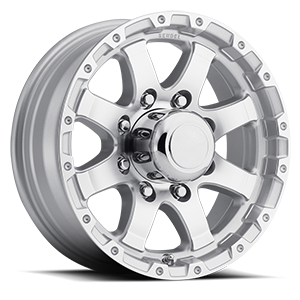 T-08 Silver Machined Lip and Spokes 8 lug