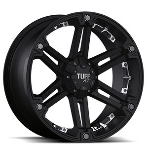 T-01 Flat Black w/ Chrome Inserts (Covered Cap) 6 lug
