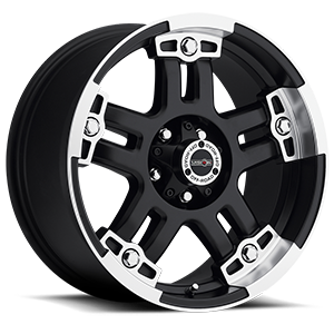 394 Warlord Matte Black with Machine Face 5 lug