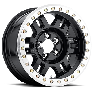 398 Manx-Beadlock Gloss Black with Machined Lip - Bead-lock 5 lug