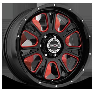 399 Fury Gloss Black Ball Cut Machined with Red Tint 6 lug