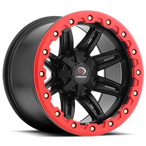 551 Five Fifty One Matte Black w/ Red Lip Armor 4 lug