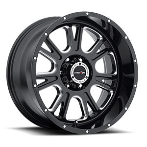 399 Fury Gloss Black with Milled Spokes - 20x10 6 lug
