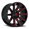 6 LUG CONTRA - D643 GLOSS BLACK W/ CANDY RED