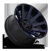 8 LUG CONTRA - D644 24X14 | GLOSS BLACK W/ CANDY BLUE