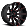 8 LUG CONTRA - D643 24X14 | GLOSS BLACK W/ CANDY RED