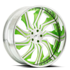 5 LUG CHOPPER BRUSHED FACE W/ GREEN ACCENTS, CHROME LIP