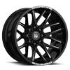 6 LUG DS654 GLOSS BLACK W/ CNC MILLED ACCENTS