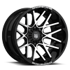 6 LUG DS654 GLOSS BLACK WITH MIRROR MACHINED FACE