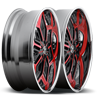 5 LUG CHRON - X87 RED W/ BLACK ACCENTS AND CHROME LIP