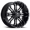 6 LUG 535 GLOSS BLACK WITH MACHINED FACE AND CHROME STAR CAP