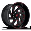 6 LUG VORTEX - D638 GLOSS BLACK W/ CANDY RED