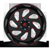 8 LUG VORTEX - D638 GLOSS BLACK W/ CANDY RED