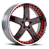 5 LUG VTL BLACK AND RED WITH CHROME LIP