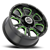 6 LUG 399 FURY GLOSS BLACK BALL CUT MACHINED WITH GREEN TINT