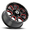 5 LUG 399 FURY GLOSS BLACK BALL CUT MACHINED WITH RED TINT