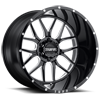 6 LUG T-23 GLOSS BLACK W/ MILLED SPOKES AND DIMPLES