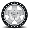 6 LUG CRAWLER BEADLOCK SILVER W/ MIRROR FACE AND BLACK LIP RING 17X8.5