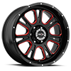 6 LUG 399 FURY GLOSS BLACK BALL CUT MACHINED WITH RED TINT