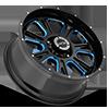 6 LUG 399 FURY GLOSS BLACK BALL CUT MACHINED WITH BLUE TINT