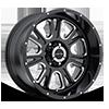 6 LUG 399 FURY GLOSS BLACK WITH MILLED SPOKES - 20X10