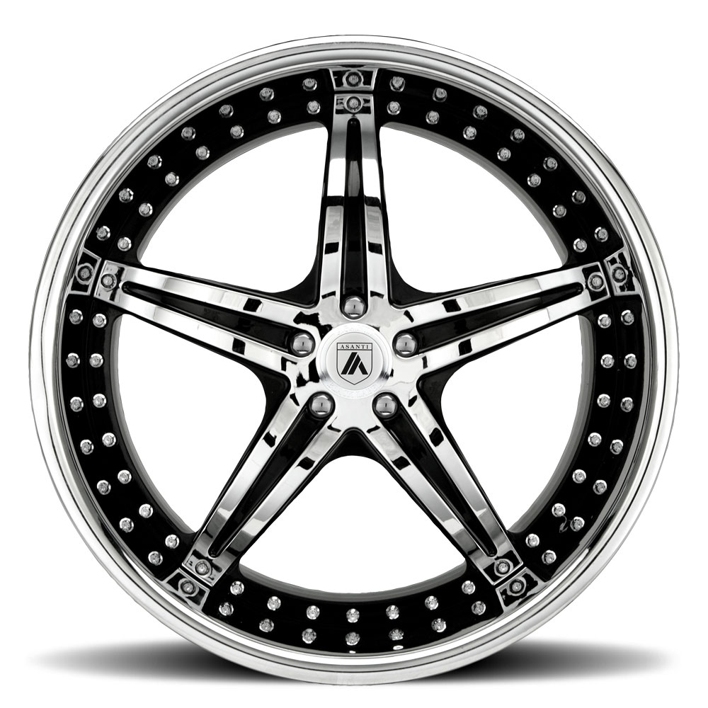 asanti wheels af144 wheels socal custom wheels 1953 Lincoln Convertible 5 lug chrome with black inserts
