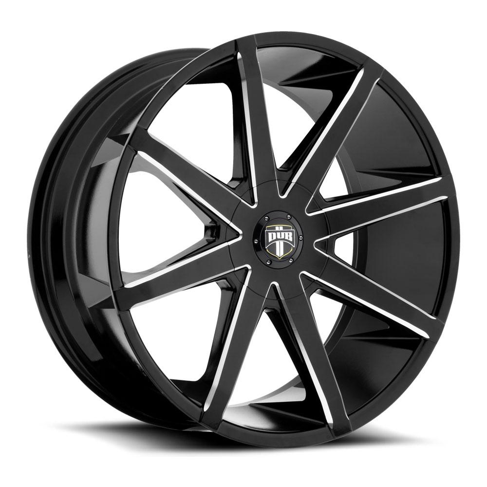 dub 1 piece push s109 wheels socal custom wheels Ford 5 Window Pickups 5 lug gloss black milled 26